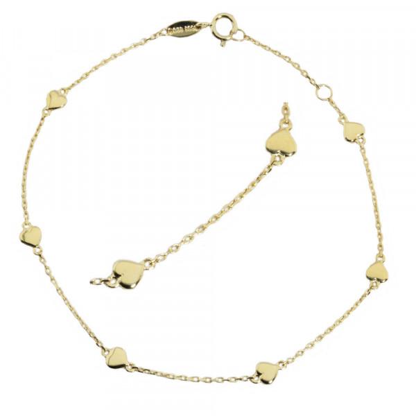 Damen Armkette Armband echt Gold 333, 8kt mit Herzeinhänger 19 cm lang