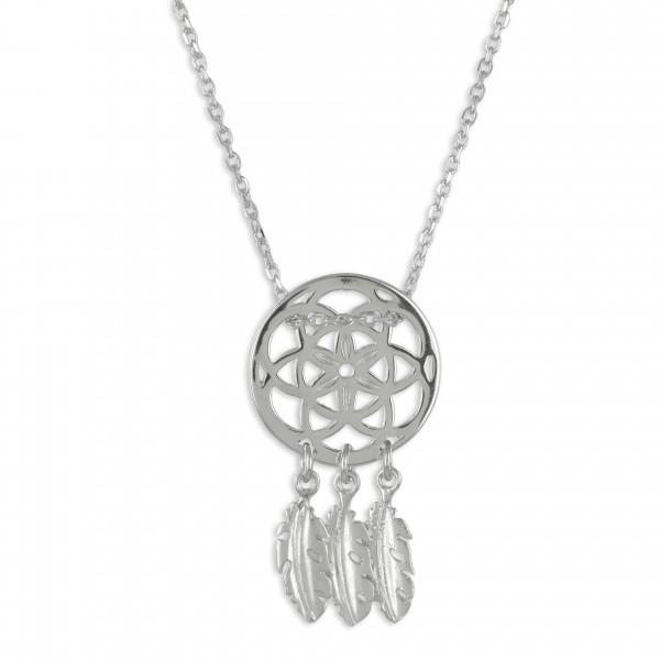 Damen Halskette Kette Collier Traumfänger echt Silber 925 Sterlingsilber rhodiniert