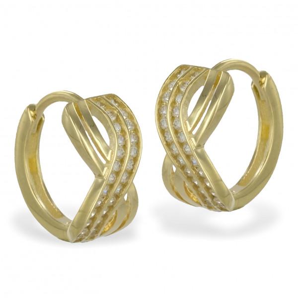 Damen Ohrringe Creolen Klappcreolen echt Gold 333 (8 kt) mit Zirkonia