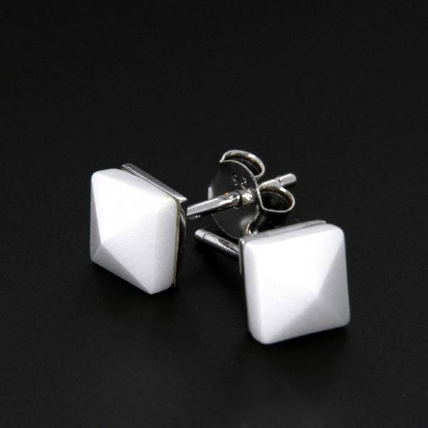 Damen Ohrringe Ohrstecker aus echt Silber 925 rhodiniert mit weißer Keramik