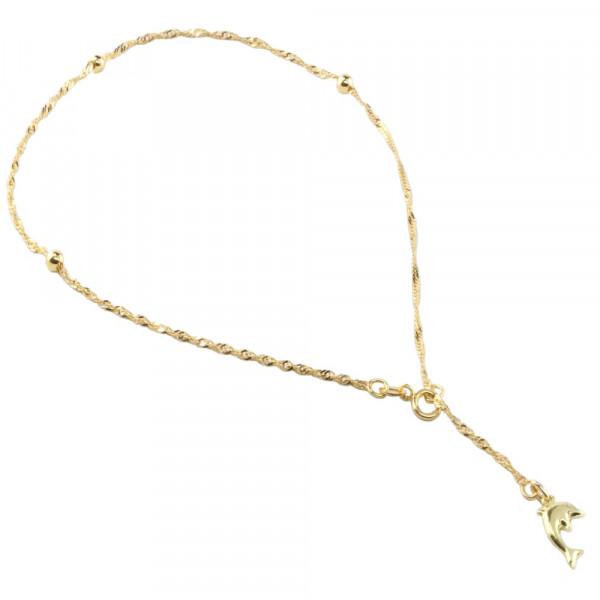 Damen Fußkette Fußkettchen echt Gold 333 Singapurkette mit Delphin 26 cm