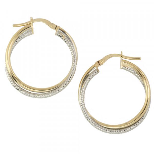 Damen Ohrringe Creolen Bügelcreolen bicolor echt Gold 375, 9 kt