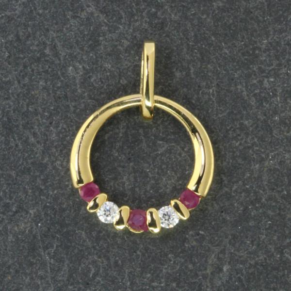 Damen Anhänger Kettenanhänger echt Gold 333 (8 kt) mit Rubin und Zirkonia