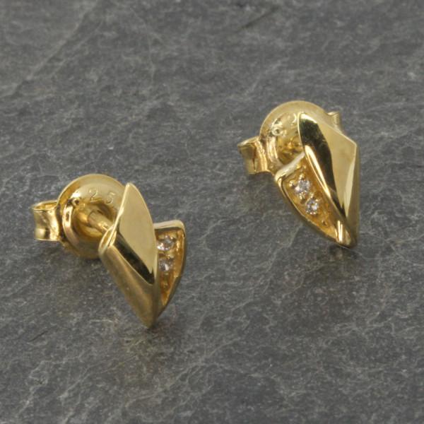 Damen Ohrringe Ohrstecker echt Silber 925 vergoldet mit Zirkonia