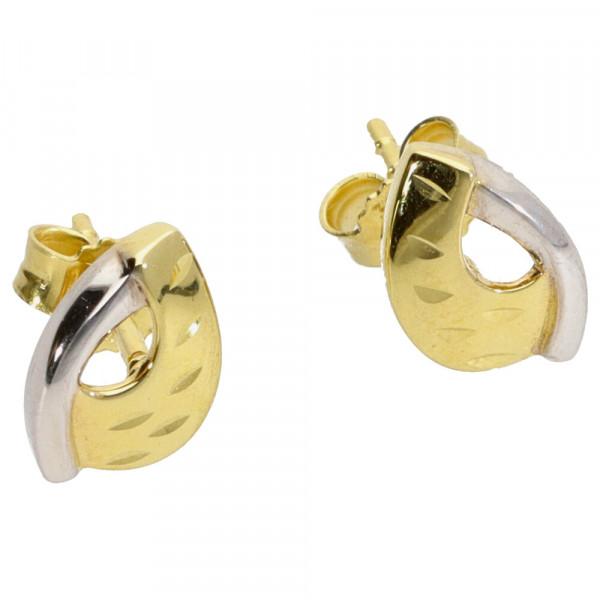 Damen Ohrringe Ohrstecker echt Gold 333 (8 kt) in bicolor