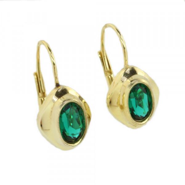 Damen Button Ohrringe Ohrhänger 8kt echt Gold 333 synthetischer Turmalin