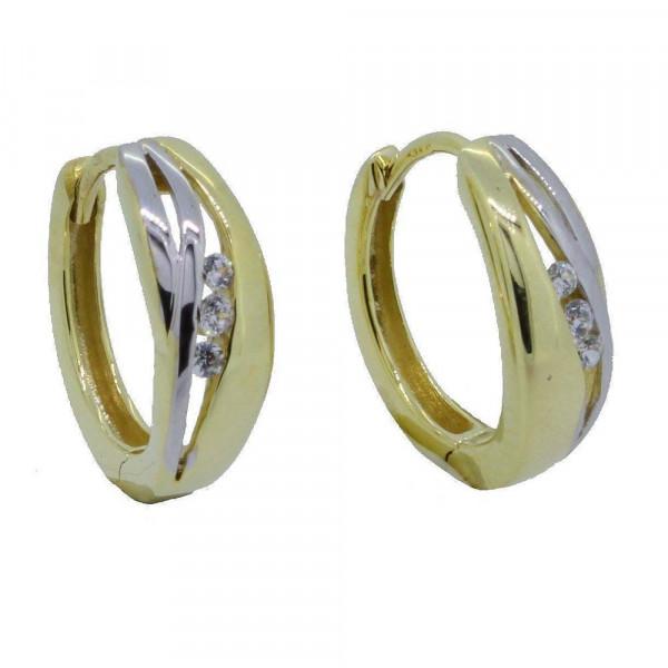 Damen Ohrringe Creolen Klappcreolen echt Gold 333 8kt bicolor mit Zirkonia