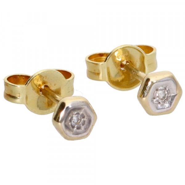 Ohrringe Ohrstecker echt Gold 585 (14 kt) mit 2 Diamanten 0,020 ct.