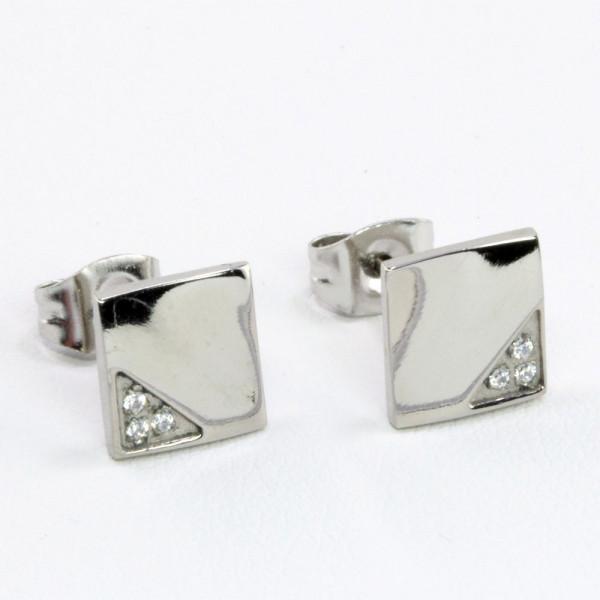 Damen Ohrringe Ohrstecker aus Titan Titanium mit Zirkonia