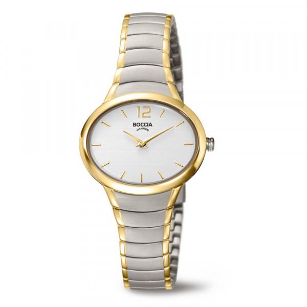 ovale Damenuhr Armbanduhr aus Titan Titanium bicolor von BOCCIA TITANIUM Modell 3280-03