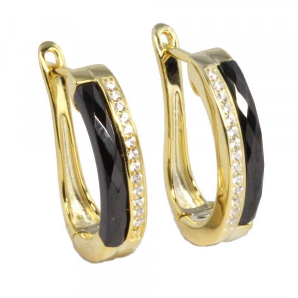 Damen Ohrringe Creolen Klappcreolen echt Silber 925 vergoldet und schwarze Keramik