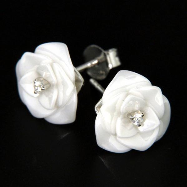 Damen Ohrringe Ohrstecker aus echt Silber 925 und weißer Keramik Motiv Rose