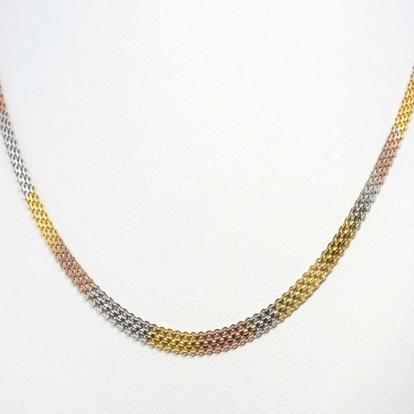 Damen Armband Armkette echt Silber 925 Sterlingsilber tricolor Länge 19 cm
