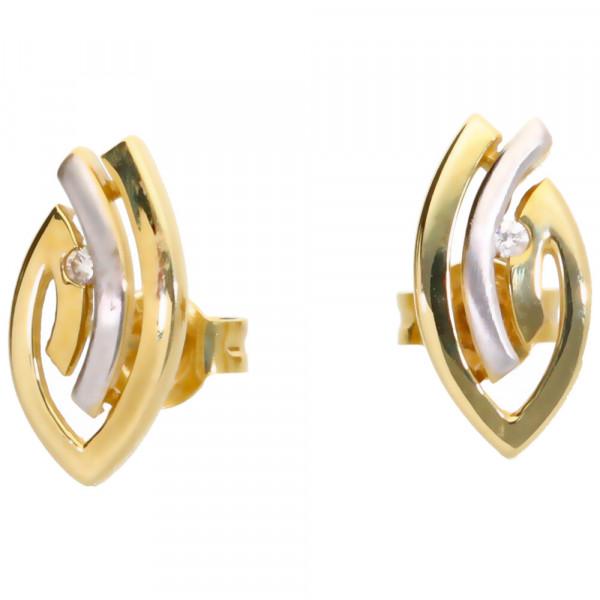 Damen Ohrringe Ohrstecker echt Gold 585 (14 kt) mit 2 Brillanten 0,030 ct. WSI