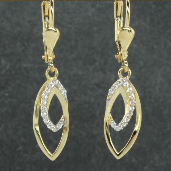 Damen Ohrringe Ohrhänger echt Gold 333 (8 kt) mit Zirkonia